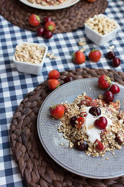 Granola with cherries and strawberries