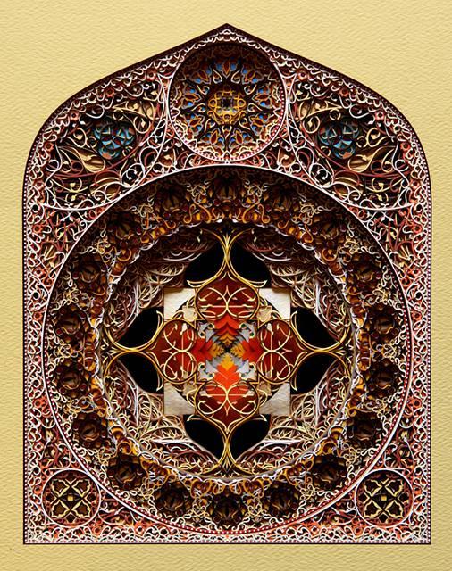 レーザーカットした紙を織り重ねた曼荼羅のようなアート作品 - 01
