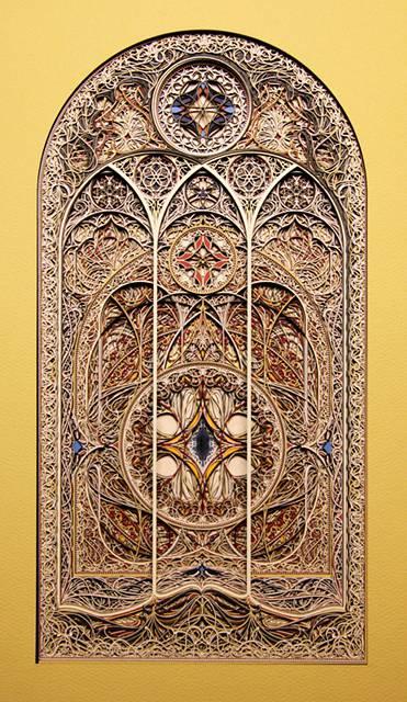 レーザーカットした紙を織り重ねた曼荼羅のようなアート作品 - 06