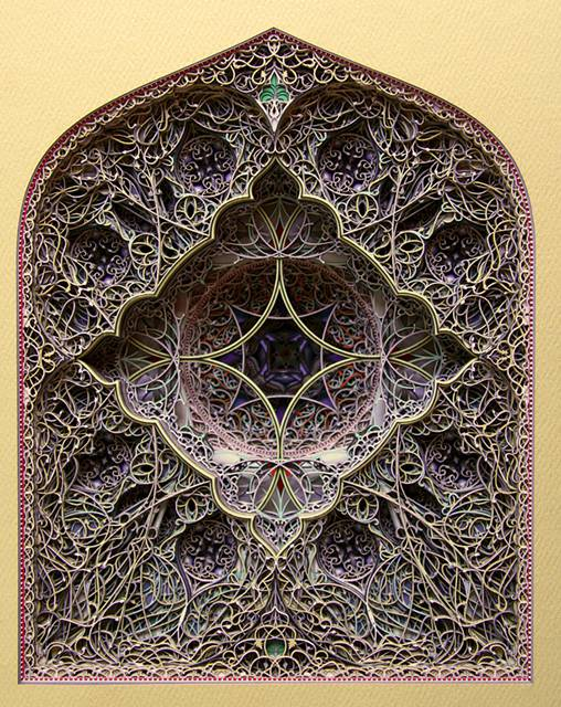 レーザーカットした紙を織り重ねた曼荼羅のようなアート作品 - 08
