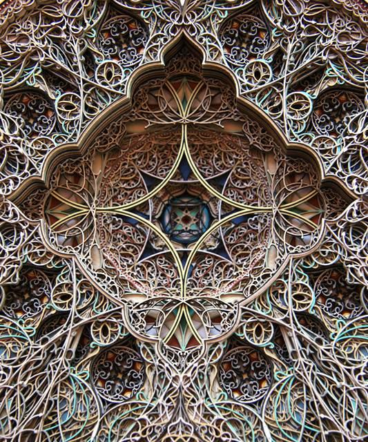 レーザーカットした紙を織り重ねた曼荼羅のようなアート作品 - 09