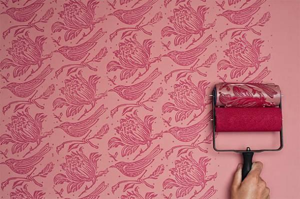 壁紙風に動物や植物のパターン柄を壁に描けるペイントローラー - 01