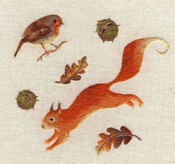 動物たちを毛並みまで丁寧に再現した刺繍イラスト作品 - 03