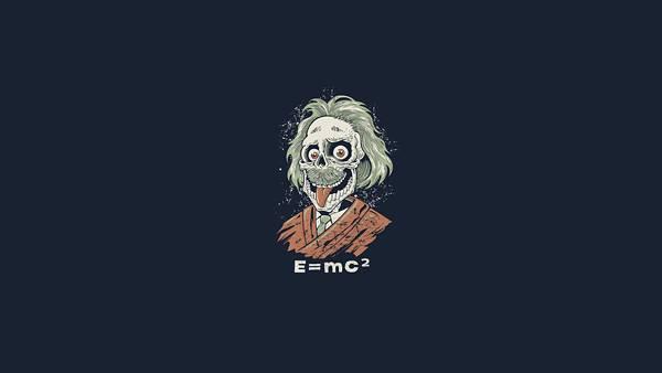 04.舌を出すアインシュタインを骸骨でデザインしたイラスト壁紙画像