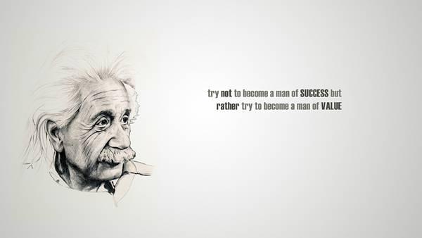 05.アインシュタインの横顔と格言をモノクロでデザインしたイラスト壁紙