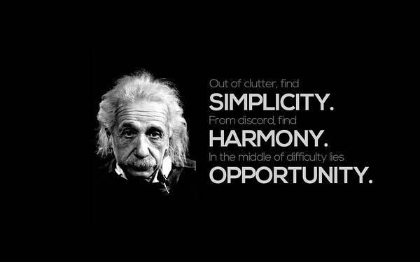 06.黒背景にアインシュタインの言葉をデザインしたクールなイラスト壁紙