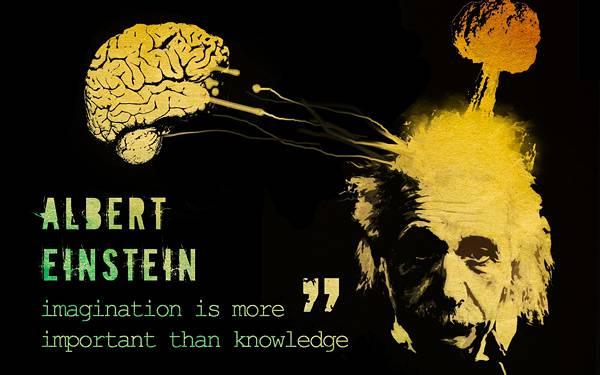 11.アインシュタインと脳をデザインしたサイケデリックなイラスト壁紙