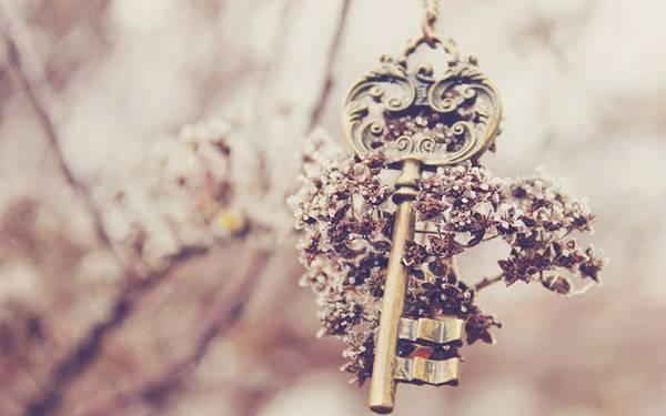 綺麗な鍵をレトロな色調で撮影したレトロな写真壁紙