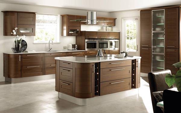 01.アールのついたテーブルと木目が綺麗なキッチンの写真壁紙画像