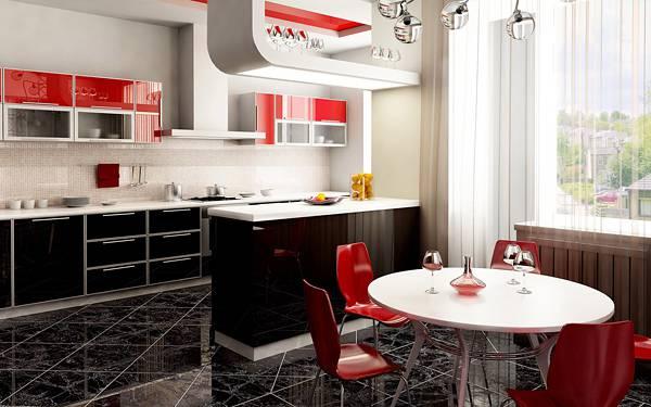 05.赤がポップな雰囲気のキッチンとダイニングの写真壁紙画像