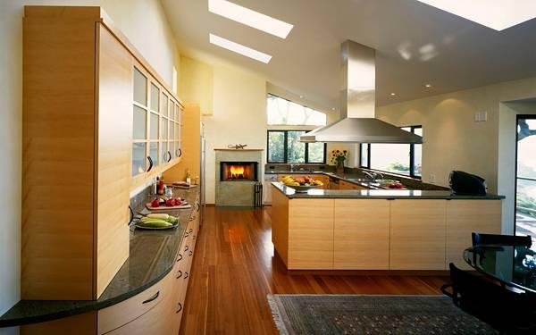 10.暖炉のある温かい雰囲気のシステムキッチンの写真壁紙画像