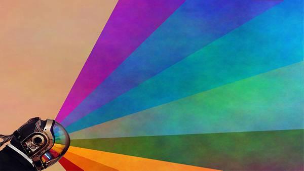 02.ダフト・パンクの横顔と虹をデザインした綺麗なイラスト壁紙画像