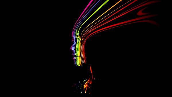 07.女性の横顔をレインボーカラーのラインでデザインした壁紙画像