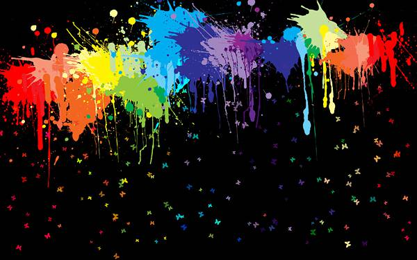 08.滴るカラフルな塗料と小さな蝶の綺麗なイラスト壁紙画像
