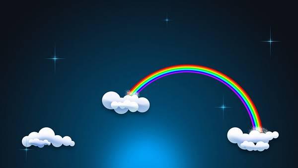 09.雲から雲へかかる虹の可愛いイラスト壁紙画像