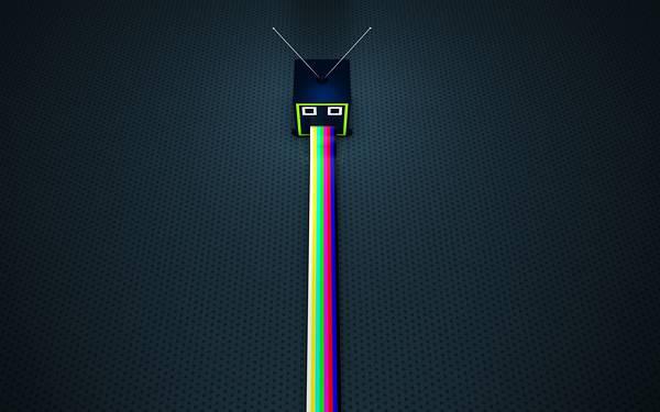 10.四角いTVと虹色のラインのポップなイラスト壁紙画像