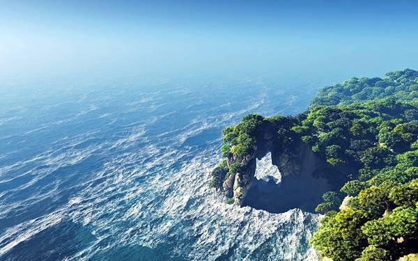 01.森と海岸の風景を上空から撮影した美しい写真壁紙画像