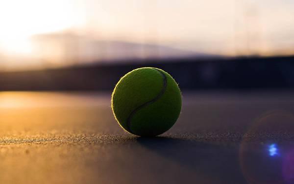 03.夕日に照らされたテニスボールを撮影した美しい写真壁紙画像