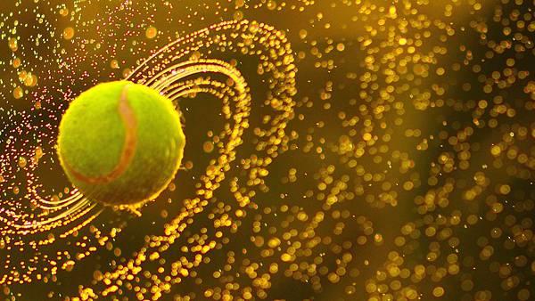 水飛沫を飛ばす濡れたテニスボールを撮影した美しい写真壁紙