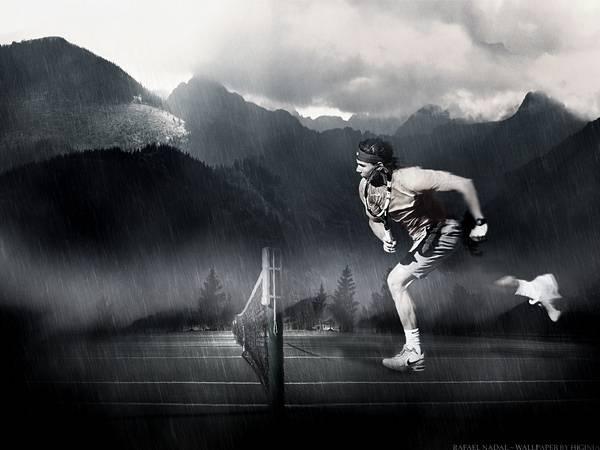山とテニスプレーヤーをモノクロでデザイン