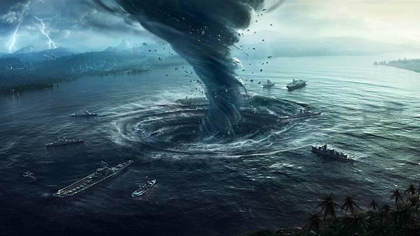 01.海上に発生したトルネードをリアルに描いたイラスト壁紙画像