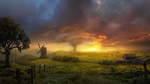 05.のどかな農場の風景と向こうからやってくるトルネードのイラスト壁紙画像
