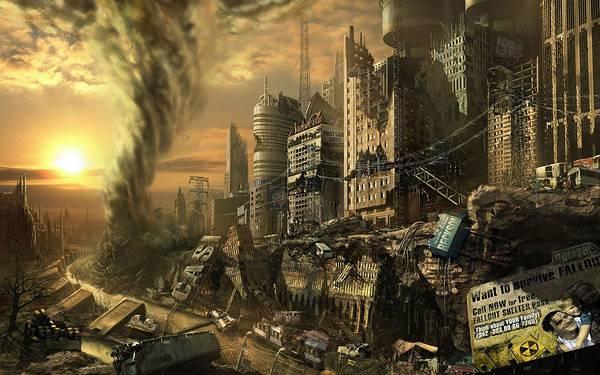 08.荒廃した街を破壊するトルネードをリアルに描いたイラスト壁紙画像