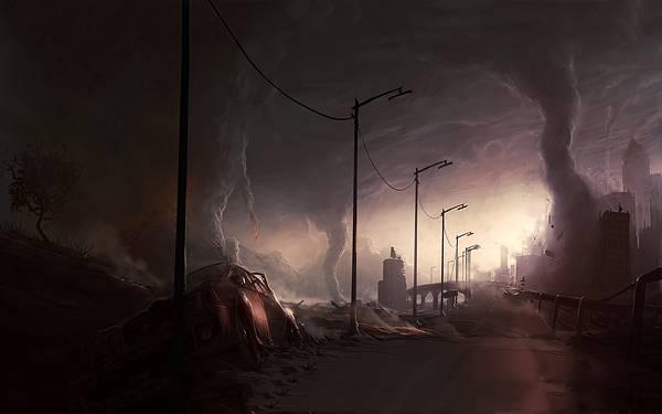 09.破壊された街といくつものトルネードを描いたイラスト壁紙画像