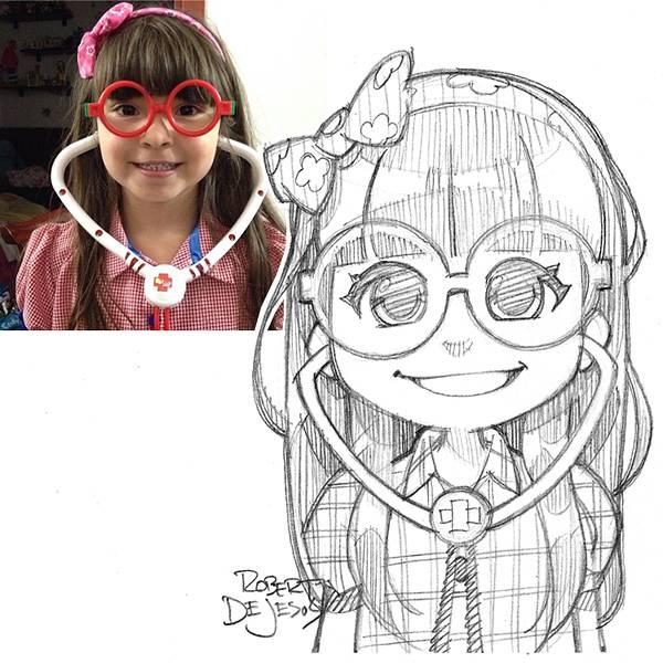 アニメキャラ風の似顔絵スケッチイラストレーション - 06