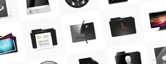 無料素材:黒ベースのデスクトップアイコンまとめ(フォルダ・ファイル・ごみ箱)