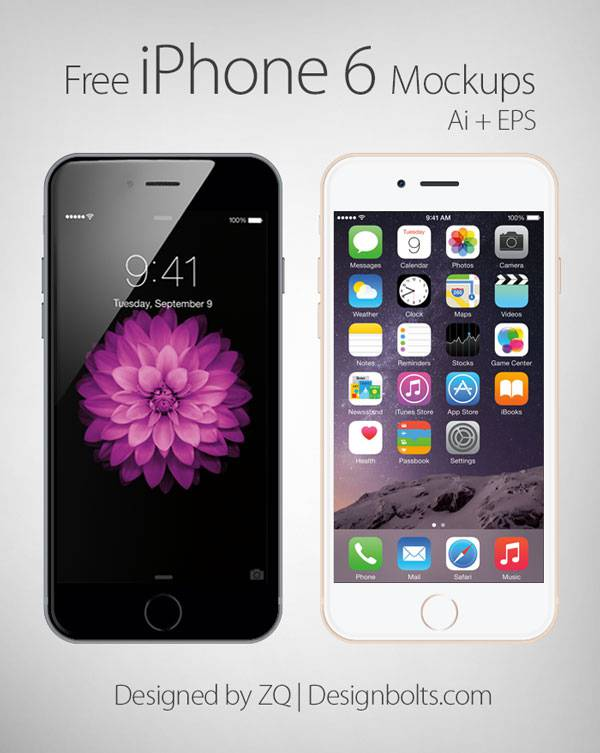 Free Vector Apple iPhone 6 Mockup In Ai & EPS Format