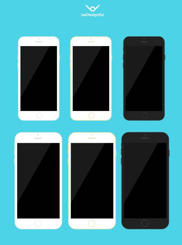 iPhone 6 / 6 Plus Flat Template - beDesignful