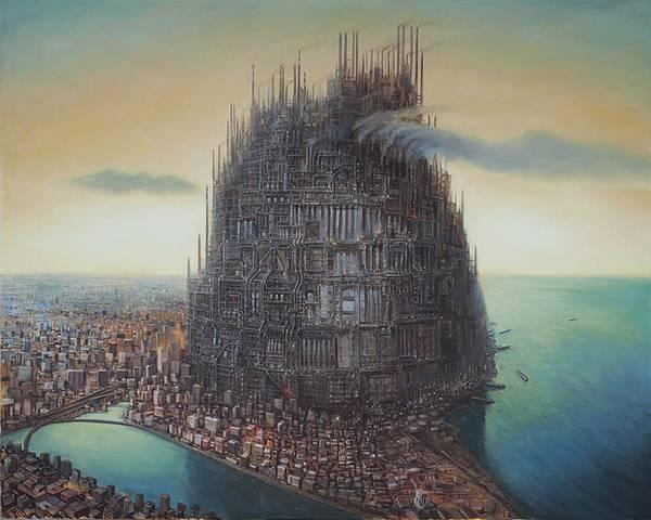 産業の発達した人間社会を超精密な描き込みでシュールに描く絵画作品 - 01