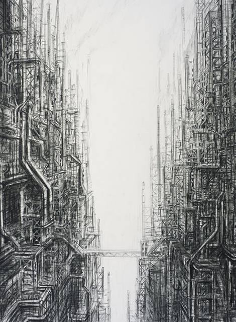 産業の発達した人間社会を超精密な描き込みでシュールに描く絵画作品 - 06
