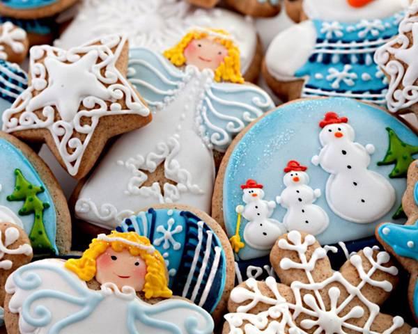 05.天使や雪だるまなどのクリスマスクッキーの可愛い写真壁紙画像