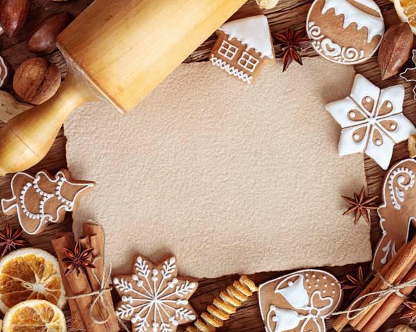 07.クリスマスクッキーとメッセージカードを撮影したオシャレな写真壁紙画像