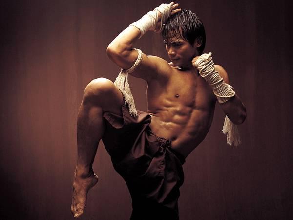02.膝を立てた構えの格闘家をクールに切り取った写真壁紙画像
