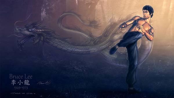 10.ブルース・リーとドラゴンをデザインしたかっこいいイラスト壁紙画像