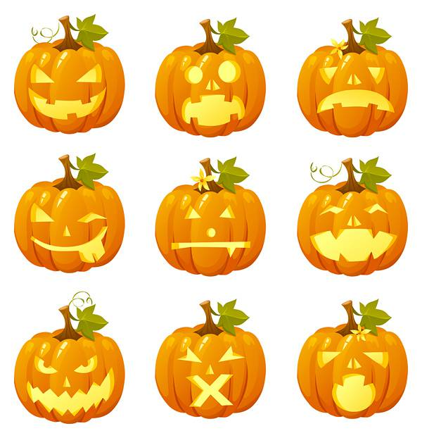 Halloween pumpkin head emoticon Vector