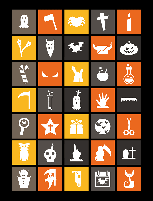 90 Free Flat Halloween Icons 2014