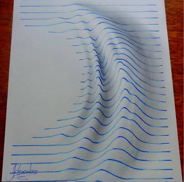 ノートの罫線を上手に使った立体イラスト作品 - 08