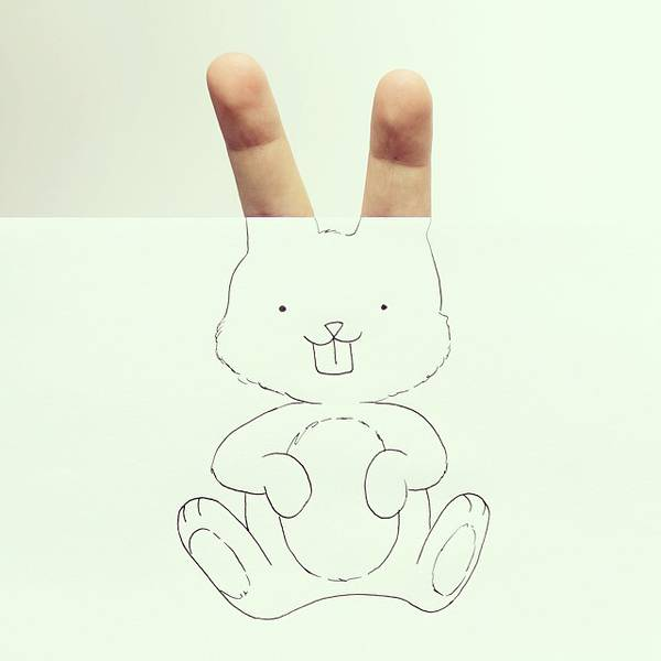 指とイラストのコラボレーション!遊び心いっぱいの楽しい動物イラスト - 01