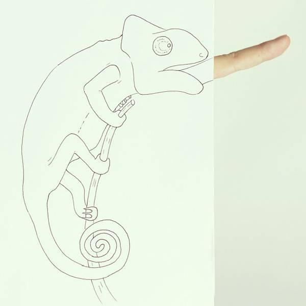 指とイラストのコラボレーション!遊び心いっぱいの楽しい動物イラスト - 06
