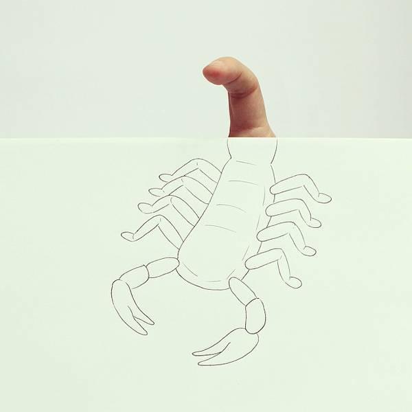 指とイラストのコラボレーション!遊び心いっぱいの楽しい動物イラスト - 07