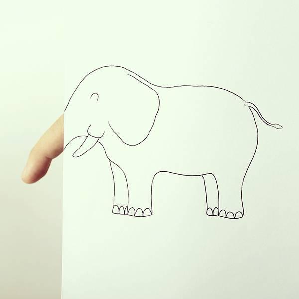 指とイラストのコラボレーション!遊び心いっぱいの楽しい動物イラスト - 09