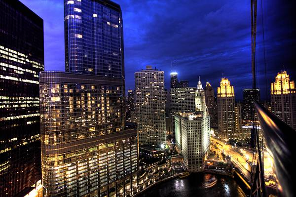 Chicago Skyline At Night from Hotel 71 on Wacker Drive