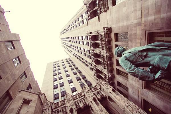 Downtown Chicago Tribune Building Statue