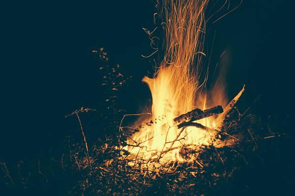 Fire Wood Dark Night Black Orange Warm