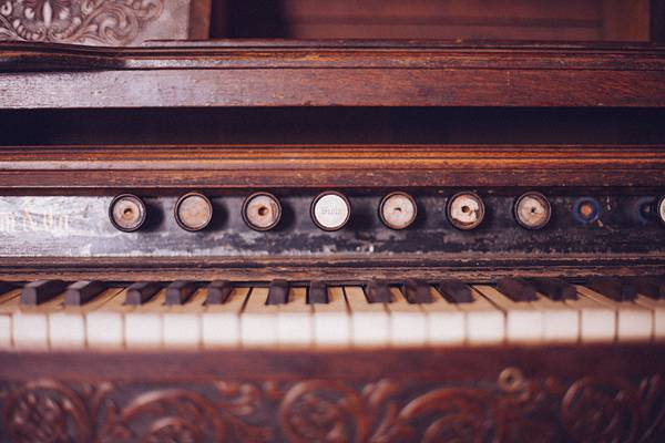 Old Organ Piano Black and White Keys Vintage Wood Rustic