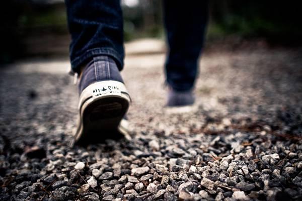 Shoes Walking Feet Grey Gravel Blue Jeans